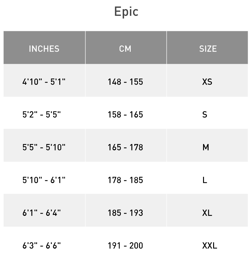 specialized epic size guide